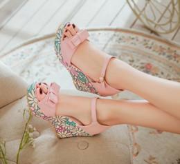 Wholesale Platform Wedge Bridal Shoes - Sweet Floral Printing Leather Bridal Sandals High Heel Wedge Platform Shoes