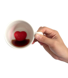Wholesale Love Heart Coffee Cup - Wholesale- Free Shipping 1Piece Ceramic Sweet Heart Coffee Mug Heart in a Cup Valentine's Day Gift Unveil My Love Mug