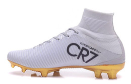 Wholesale Cheap Lace Boots - 2017 New men Cristiano Ronaldo Mercurial Superfly Iv FG CR7 501 Boot White Golden Soccer Shoes,Cheap Chapter 5 mens Training Sneakers Cleats