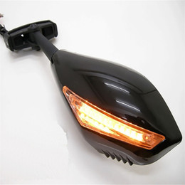 Wholesale R1 Carbon Fiber - TOP QUALITY Motorcycle Carbon Fiber Integrated Led Turn Signals Side Mirror YAMAHA FZR-600 YZF-600 YZF-R1 YZF-R6 YZF-R6 YZF R1