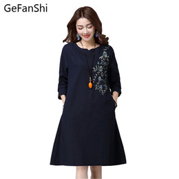 Wholesale Woman Dress Chinese Style - Wholesale- Fashion 2017 new spring autumn embroidery Chinese style women dress plus size loose long sleeve cotton linen casual dresses