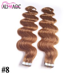 Wholesale Color Hair For Brown Skin - Skin Weft Tape In Hair Extensions Human For Your Nice Hair Discount #8 Light Brown Brazilian Body Wave Beauty Hair Products 10-26inch Long