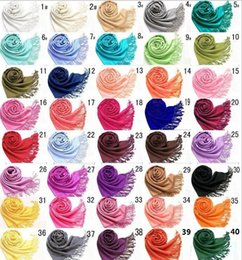 Wholesale Mic Ladies Fashion - DHL free shipping MIC Mxed Pashmina Cashmere Solid Shawl Wrap Women's Girls Ladies Scarf Soft Fringes Solid Scarf Size:180*70cm