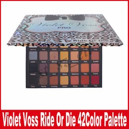 Wholesale Leopard Eyeshadow - VIOLET VOSS Ride Or Die 42 colors Pro EYESHADOW PALETTE Limited Edition Leopard and Bow Eyeshadow Palette DHL