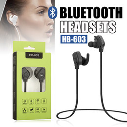 Wholesale Headphone For One Ear - Bluetooth Headphones HB-603 Stereo Headset One String Earphone Earbuds for iPhoneX 7PLUS Samsung HTC Smartphone Sports Earphones