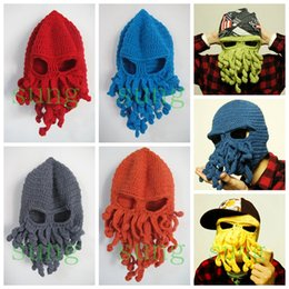 Wholesale Wholesale Mustache Beanies - Mens Beanie Knitted octopus mustache hat for men women Fashion Funny joke hats Protection warm Winter Exported European wholesale 2016