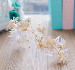 Wholesale Feather Hairpieces - Apricot Handmade Flowers Feathers Bridal Headbands Crystals Pearls Wreath Chic Flower Crown For Bride Romantic Bridal Hairpiece H39-4