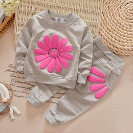 Wholesale Girls Pretty Tops - Pretty Baby Girl 2pcs Set Children Sunflower Flower Clothing Sets Leisure Long sleeve Top and Pants Fall Clothes Kids Clothing Wholesale
