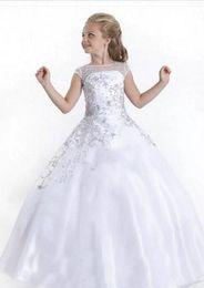 Wholesale Teen Girls Short Formal Dresses - White Wedding Flower Girl Dresses 2017 Beading Crystal Ball Gowns For Teens Child Communion Formal Gowns With Sheer Short Sleeves