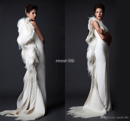 Wholesale Mermaid Pageant Dresses Jacket - Krikor Jabotian Ivory Feather Women Formal Evening Dresses Sheath Ruffles Satin 2017 Arabic Pageant Gowns Long Prom Occasion Dress Vintage