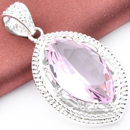 wholesale pink topaz jewelry Promo Codes - 6 Pieces Luckyshine Fire Horse Eyes Pink Topaz Gems 925 Sterling Silver Pendants for Neckalce Russia Canada Drop Easter gift Jewelry
