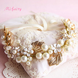 Wholesale Crystal Hairpieces - High End Handmade Wedding Hair Accessories Crystals Bridal Headbands Gold Leafs Crystals Pearls Bridal Hairpiece H116