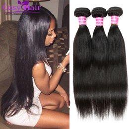Wholesale Cheap Cambodian Virgin Weave - Brazilian Human Hair Weave 4 Bundles Brazilian Cambodian Soft Virgin Hair Straight Cheap Remy Human Hair Unprocessed Nature Black