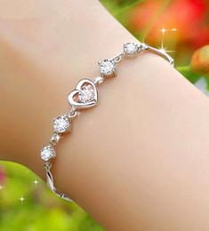 Canada Style coréen Améthyste Coeur Bijoux Haute Imitation Argent Blanc Plaqué Or Homard Lien Chaîne Bracelet avec Diamant pour Dames Offre