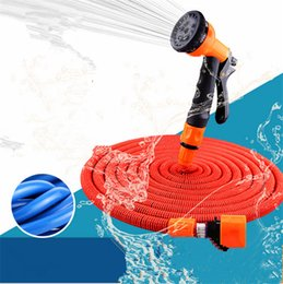 Wholesale 75ft Nozzle - Expandable Watering Hose 25FT 50FT 75FT Flexible Garden Pipe with Spray Nozzle Natural Latex Washing Car Pet Bath Hoses EU US Asia Version