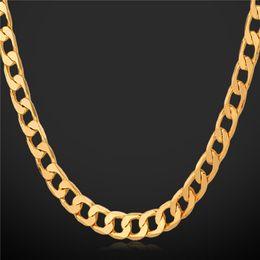 5mm figaro kettenhalskette Rabatt '18K' Stempel Herren hohe Qualität vergoldet Chunky Halsketten Ketten 18K Real Vergoldete Figaro Halskette 5MM 55CM 22 '' YS744