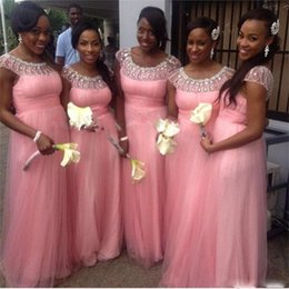 Wholesale Cheap African Beads - Pink Bridesmaid Dresses Long Cheap Beads Sequins Cap Sleeves Maid Of Honor Party Gowns A Line Tulle African Black Girls Wedding Guest Dress
