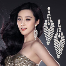 boucle d'oreille long dos Promotion Nouveau grand boucles D'Oreilles De luxe Autriche Cristal Clip sur Grand Long Gland Boucles d'oreilles sans trou Mix Balancent noeud en gros briller Bling Bijoux DHL