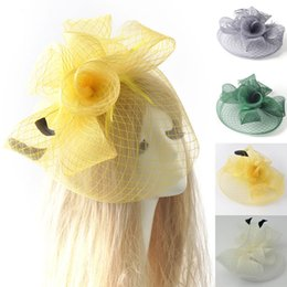 Wholesale African Feather Hat - Feather Mesh Netting Fascinator Hat Hair Clip Hairwear Wedding Party Ladies Day Hens 3 colors for choose Gift Handmade