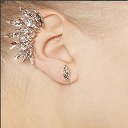 Wholesale Rhinestone Chandelier Earrings Clip - Trendy eye-catching 1pcs rhinestone crystal ear cuff and studs women fashion gold color leaves wings clip on earrings jewelry