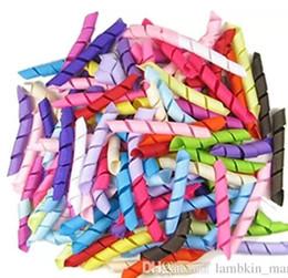 "Wholesale Solid Grosgrain Ribbon Mixed - 196 color curling mix color 1 4"" width 2.5""length Korker Ribbon colorful Curly Hair Bow Ribbon Curled Grosgrain Ribbon (100-3000pcs) l"