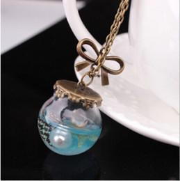 Wholesale Tear Bottle Necklace - Sea Ocean Glass Wishing Bottle Pendant Mermaid Tears Shell Star Necklace Jewelry + Free Shipping + Free Gift