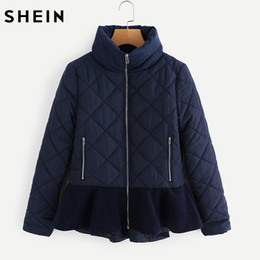 Wholesale Womens Long Length Coats - Wholesale- SHEIN Navy Stand Collar Ruffle Hem Quilted Coat Autumn Womens Coats 2017 Winter Ladies Long Sleeve Casual Parka Coat