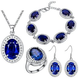 Wholesale Sterling Silver Rings Bracelets Mix - New Arrival - 4-in-1 Bridal Jewelry Sets Sterling Silver Jewelry, 5Color Women Crystal Jewelry Sapphire Necklace + Earring + Ring + Bracelet