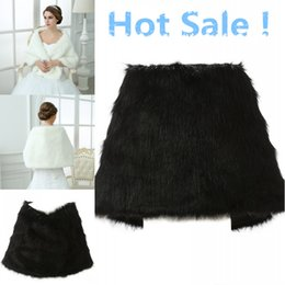 Wholesale Boleros Wraps - Wedding Bolero Jacket White Black Bridal Wraps Elegant Boleros Shrugs Regular Faux Fur Stole Capes Shawl with Peals 17013
