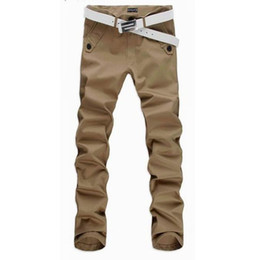 Брюки мужские повседневные брюки chinos онлайн-Wholesale- 2017 New Arrival Mens Casual Slim Pants Chinos Fashion Men Straight Trousers Pantalones Hombre Plus Size M-4XL 13M0188