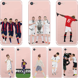 Wholesale Wholesalers Football Phone Cases - Sport Star Soccer Football Boy Clear Transparent TPU Phone Case For iPhone 8 7 6s 6 Plus 5s 5 SE Opp Bag.