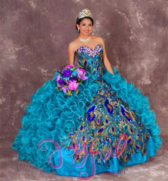 Wholesale Peacock Yellow - 2017 New Sexy peacock Ball Gowns Embroidery Quinceanera Dresses With Beads Sweet 16 Dresses 15 Year Prom Gowns QS1004