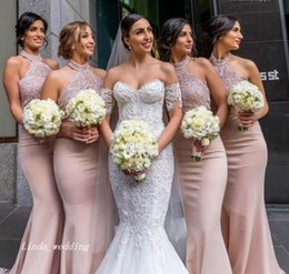 Wholesale High Neck Halter Bridesmaid Dress - 2018 High Quality Dusty Pink Bridesmaid Dress Halter Neck Garden Country Formal Wedding Party Guest Maid of Honor Gown Plus Size Custom Made