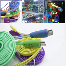 Wholesale Iphone Cable Smile - Smile Face 1m 3ft LED Light Micro USB Flat Visible Flashing Noodle Data Charger Cable For Samsung S6 HTC Universal