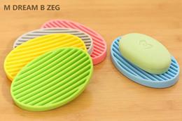 Wholesale Fashion Design Items - The new silicone soap dishes Fashion bathroom soap holders Multicolor water drainage antiskid design bathroom items