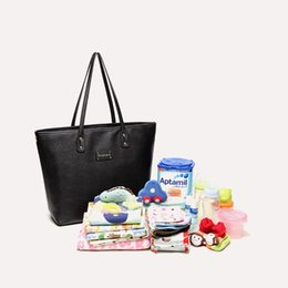 Wholesale Pvc Diaper Bags - Luxury PU Diaper Bag Large Totes Handbag with Changing Pad for Baby Black Nappy Bags Mother Shoulder Bag Baby Stroller Bags