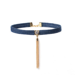 Wholesale Long Tassel Gold Necklace - Hot Sale Blue Denim Jeans Choker Necklace Women Long Chain Tassel Pendant Necklace Simple Neck Chocker Jewelry Gift Free Shipping RY08