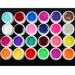 Wholesale Nail Art Glitter 24 - gel for nail 24 Pcs Mix 12 Pure 12 Glitter Color UV Builder Gel For Nail Art Fasle Tips Set