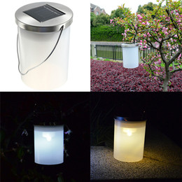Wholesale Solar Light Lantern Hanging - LED Sloar Lamps Solar Power Hanging Cylinder Lanterns Outdoor Solar Stainless Steel Lights Camping Lantern Landscape Garden Outdoor Light