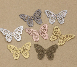 Wholesale Material Jewelry Making - 100 Pcs 32*26mm Butterfly Charms Wholesale Vintage Style Handmade Material Hollow Out DIY Charms for Jewelry Making