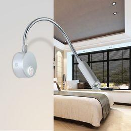 Wholesale Hose Lead - 1W 3W LED Hoses Wall Lamp Flexible Home Hotel Bedside Reading Light AC 85 - 240V Modern Fashion Book Lights Aluminum LED Bulbs