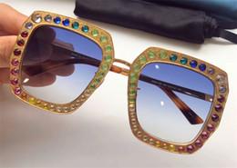 Wholesale Crystal Boxes - New fashion designer women sunglasses 0115 metal square frame mosaic shiny crystal colorful diamond top quality UV400 lens with original box