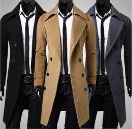 Wholesale Double Breasted Coat Camel - Wholesale- New Stylish Men's Trench Coat Winter Jacket Double Breasted Overcoat Black   Camel  Grey ,size:M-XXXL Free Shipping