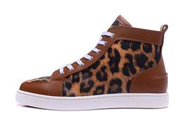 Wholesale Shoes Black Women Leopard - MBSn991X Size 35-47 Men Women Brown Leather Black Leopard Print High Top Fashion Sneakers, Unisex Luxury Brand Full Season Flat Casual Shoes
