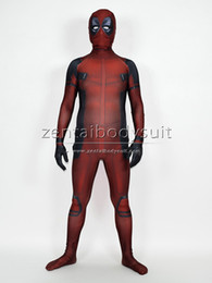 Wholesale Kids Deadpool Costumes - Advanced Sewed Movie Deadpool Printed Spandex Lycra Zentai Costume with 3D Muscle Shades