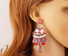 Wholesale Tassel Bead Earrings - Vintage Jewelry Boho Earrings Colorful Pearl Beads Long Tassel Drop Ethnic Earrings New Jewelry For Women NZ