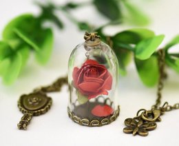Wholesale Chain Link Glasses - 10PCS Lot Beauty and The Beast Necklace Rose In Terrarium Pendant His Beauty Her Beast Valentines Day Fairy Tale Victorian