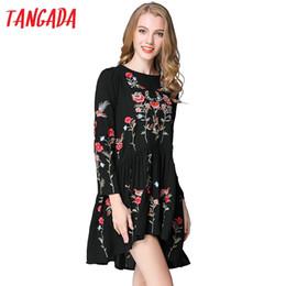 Wholesale Chiffon Korean Women Fashion - Wholesale- Tangada Vintage Women Floral Embroidery Dresses Spring Bohemian Black Sleeve Vintage Fashion 2017 Korean Vestidos Robe Femme