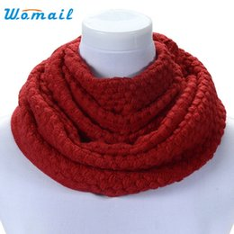 Wholesale Cowl Neck Men - Wholesale- Womail Good Deal Good Deal New Fashion Women Winter Warm Soft 2 Circle Cable Knit Cowl Neck Long Scarf Shawl Gift 1PC