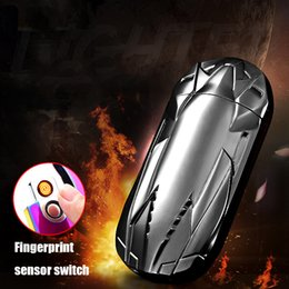 Wholesale Cool Car Electronics - USB Electronic Novetly Charging Lighter Fingerprint induction Cool Sports Car Double-Side Heating Wire Flameless Lighters Windproof New